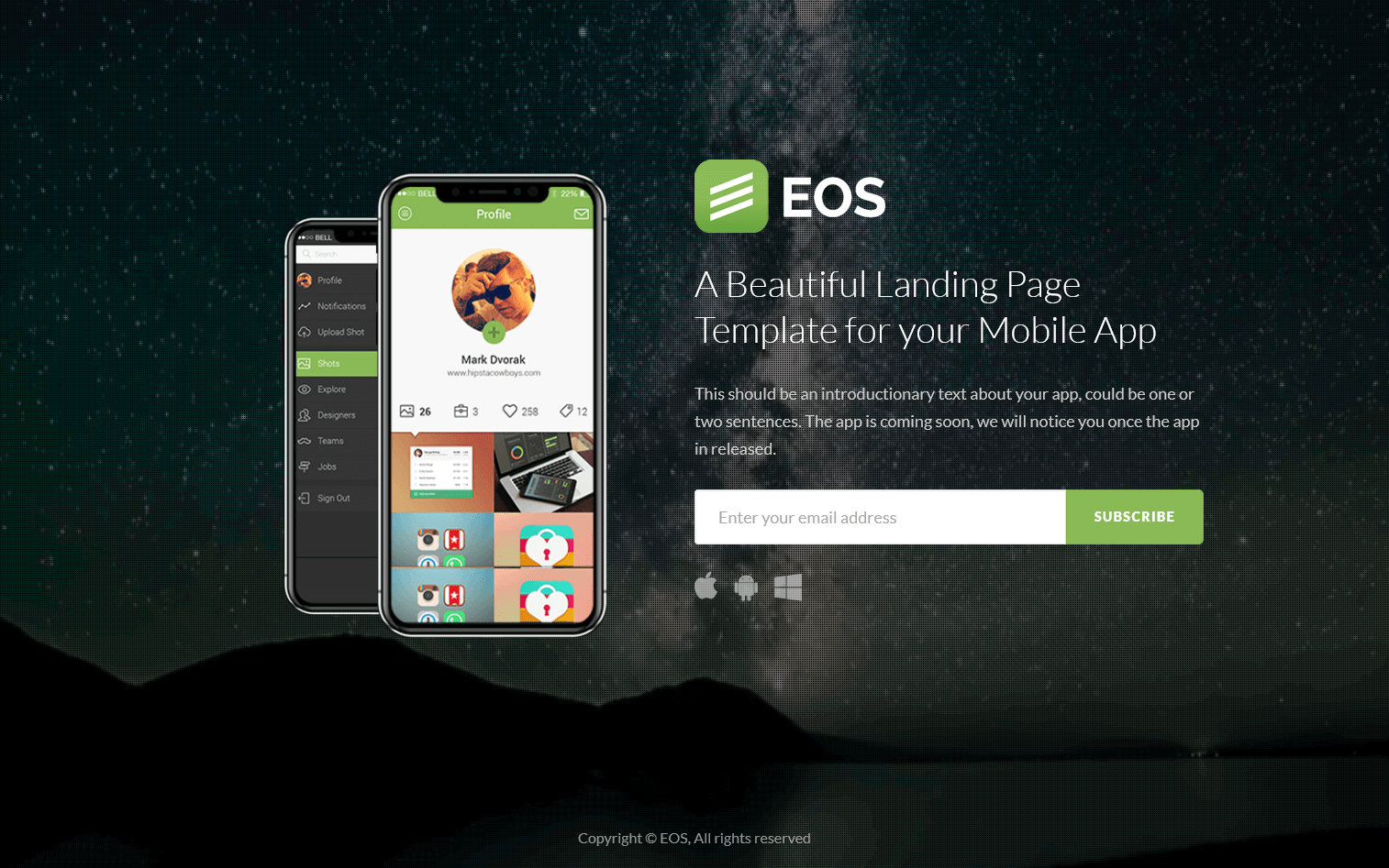 EOS - A Responsive Bootstrap App Landing Page